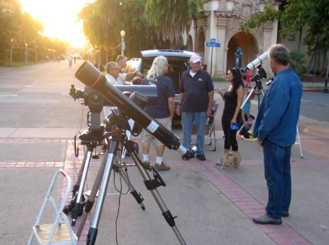 San Diego Astronomy Association members set up telescopes in Balboa Park.
