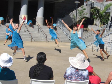 San Diego Dance Theater performs Trolley Dances at City College.
