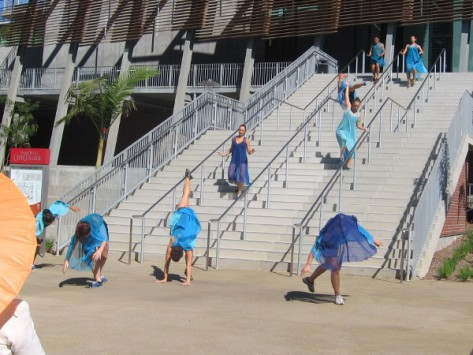 The free form dance twirls and floats before the eyes of onlookers.