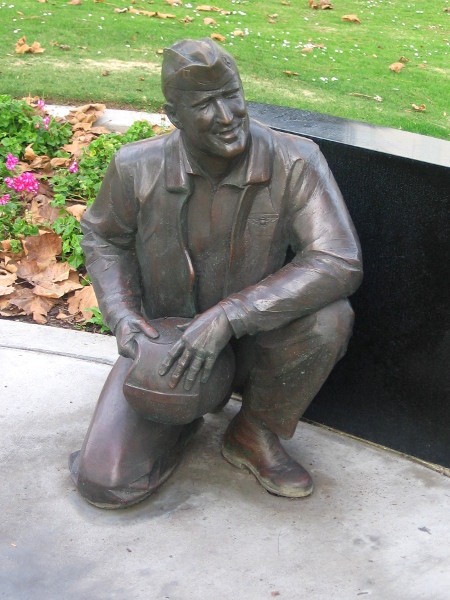 Sculpture of a naval aviator who flew from a carrier.