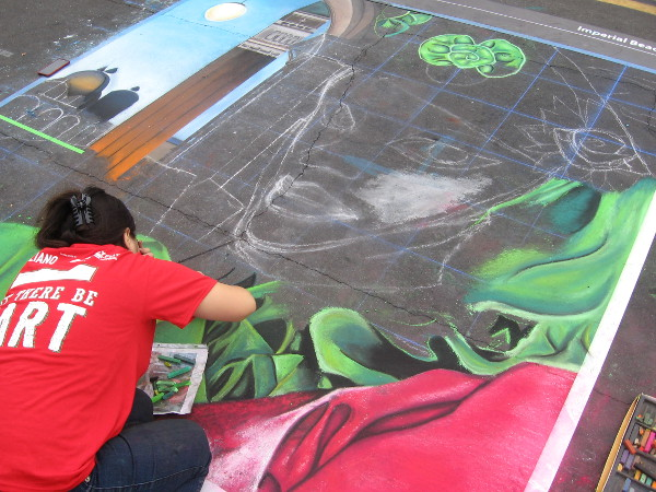 Squid In My Tea chalk art being created during 2014 Festa event.