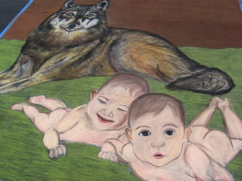 Salgado chalk art shows Romulus and Remus, mythical founders of Rome.