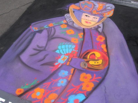 Sumart chalk art is very colorful in the Sunday morning light.
