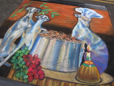 Valerie Michelle awesome chalk art contains grapes and a dog chef!