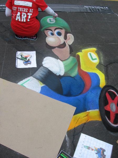 Killer Queens chalk art of Mario Kart!