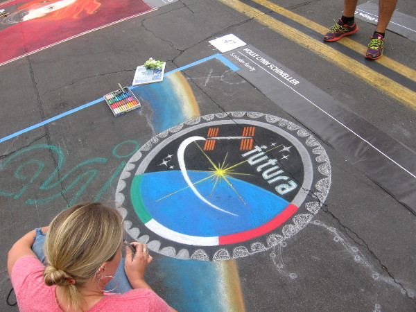 Holly Lynn Schineller chalk art is an homage to the future.