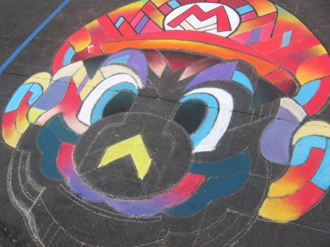 Chalkolate is creating another awesome Mario using colorful chalk.