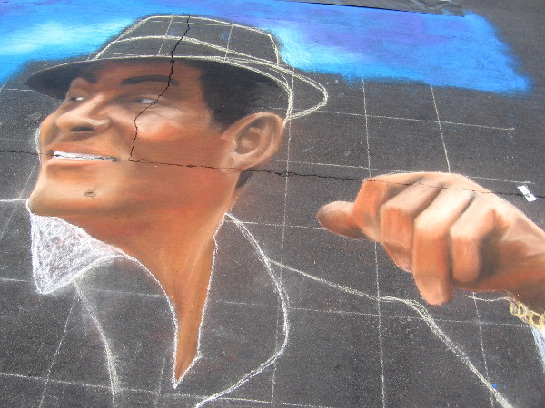 John Vilotti chalk art of a stylish face.
