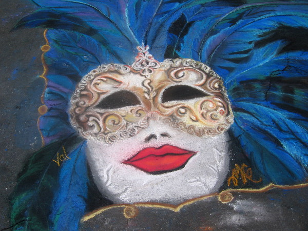Ciao! masquerade chalk art is suitable for the Festa festivities in Little Italy.