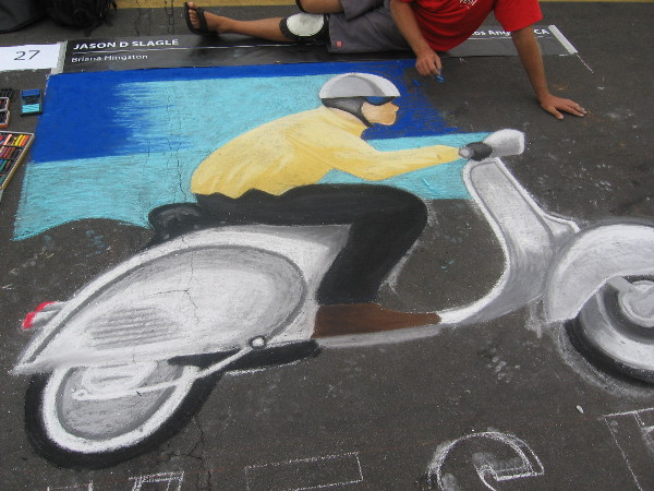 Jason D Slagle chalk art Vespa is definitely very cool!