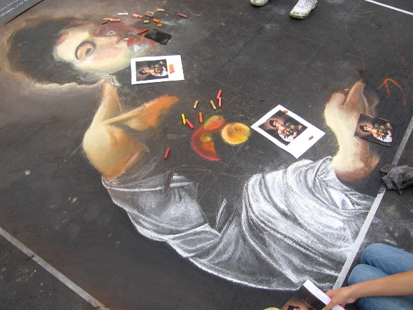 Canyon Crest Academy creating a classical image with chalk.