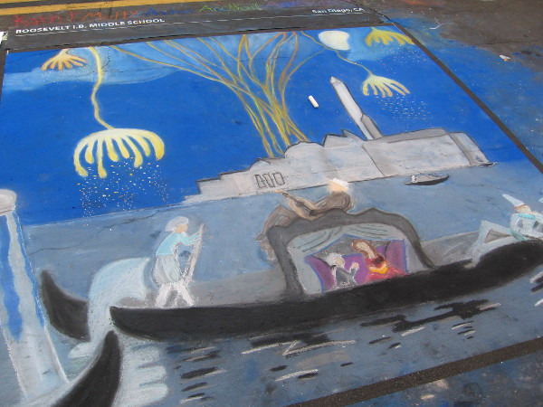 Roosevelt I.B. Middle School created a fantastic Venetian scene with chalk.