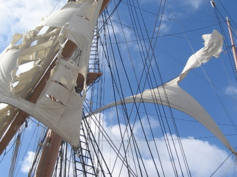 Spooky shredded sails of haunted Star of India on Embarcadero.