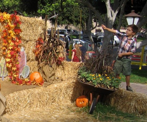 Kid checks out pumpkins and colorful display at Seaport Village.