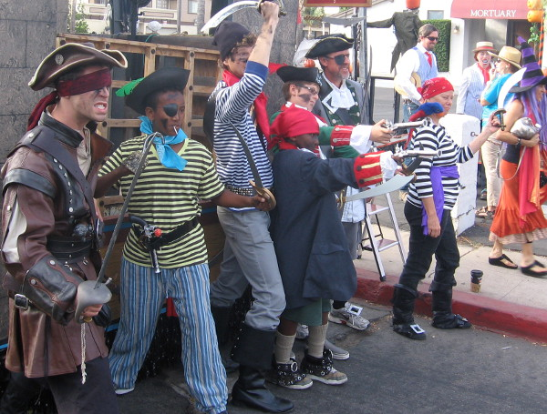 These pirates were being rascally and rambunctious in the parade staging area!