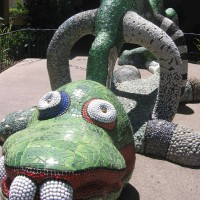 Colorful mosaic sculptures near Mingei Museum.