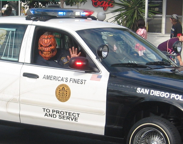 The San Diego Police Department must be hiring guys with evil pumpkin heads!