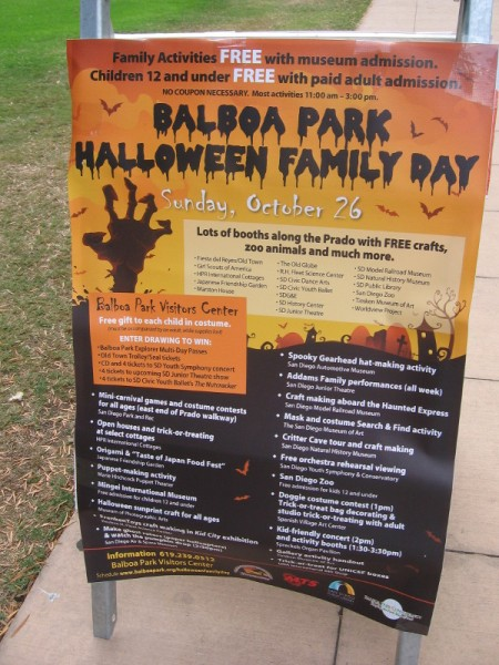 Sign explains Balboa Park Halloween Family Day.