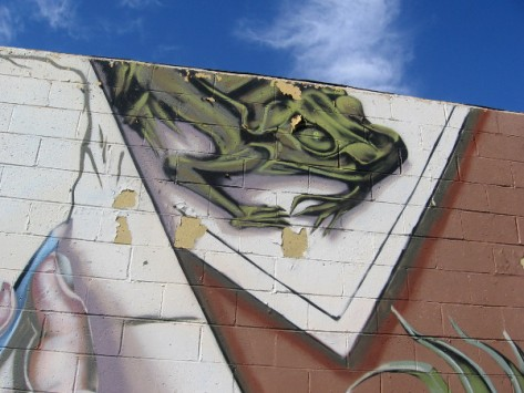 Cool urban art attracts the eye and stimulates the mind of those passing by.