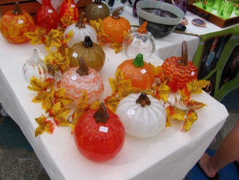 Fine glasswork in the form of pumpkins created by local artists.