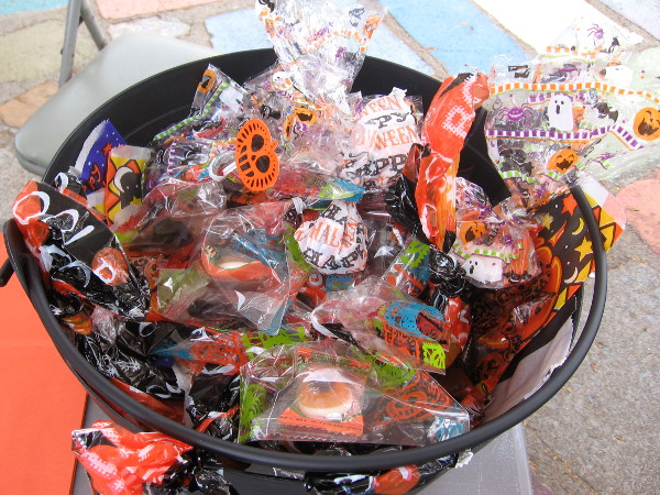 Yum! Look at this basket of Halloween candy!