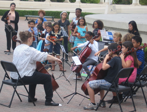 SDSU School of Music and Dance kids perform before Spreckels Organ concert.