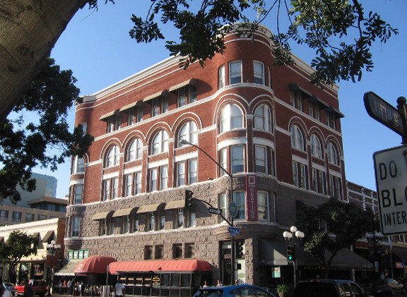 Keating Building is an important landmark in San Diego's Gaslamp Quarter.