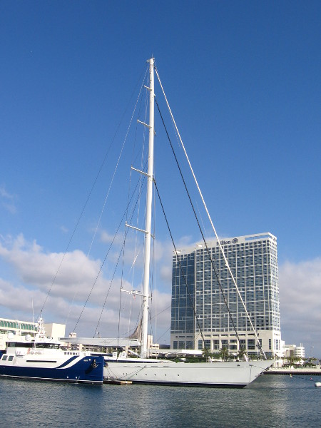 Mirabella V has a mast that is higher than nearby San Diego buildings!