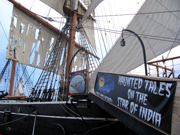 October sign on historic tall ship reads Haunted Tales on the Star of India.