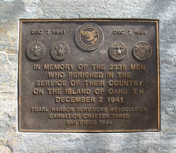 Photo of Pearl Harbor Survivors plaque courtesy the Port of San Diego.