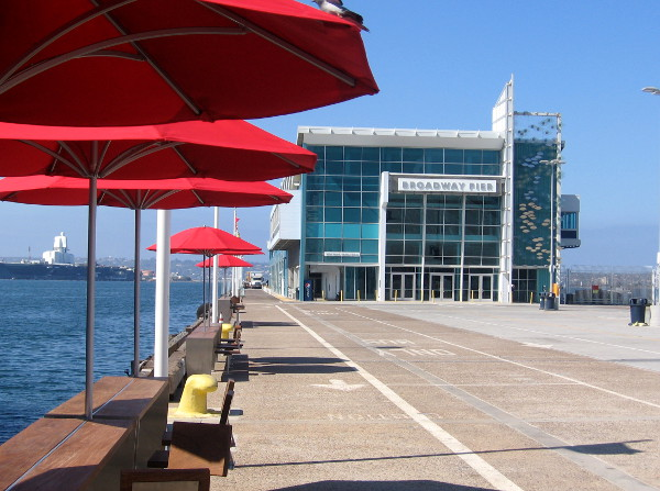 Tables and umbrellas have been added near the foot of the Broadway Pier.