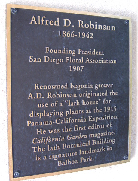 Alfred D. Robinson used the lath house to display plants at 1915 Panama-California Exposition.