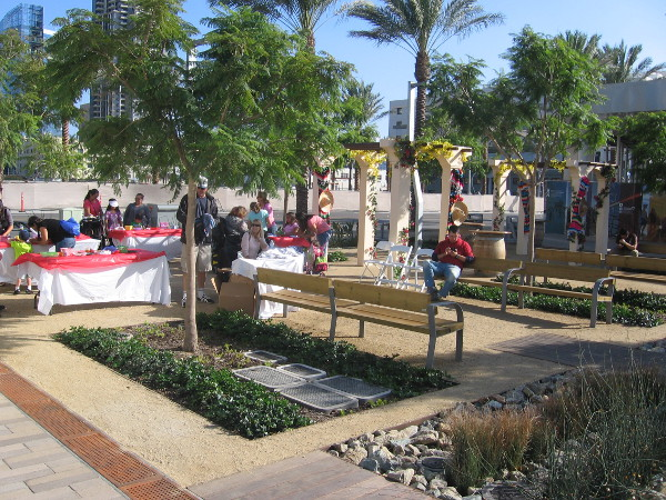 Benches along Harbor Drive are festive today for the celebration