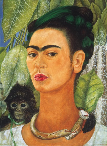 Frida Kahlo, Self-Portrait With Monkey, 1938, courtesy the Albright-Knox Art Gallery.