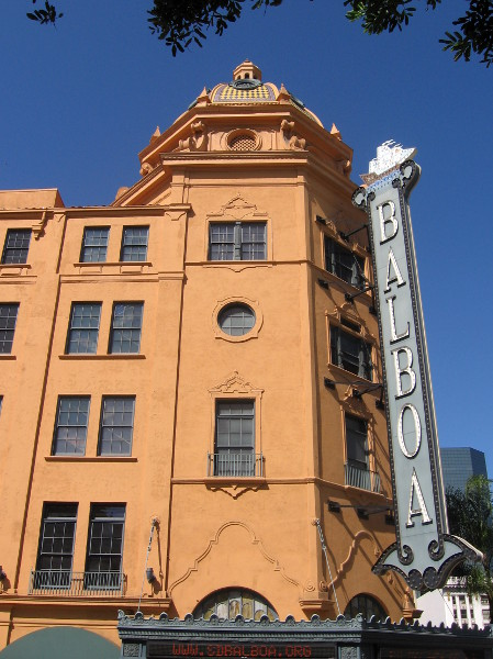 Balboa Theatre sign is a landmark in San Diego's Gaslamp.