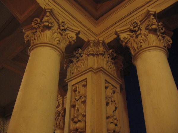Foliate capitals on the columns of the Spreckels Organ Pavilion colonnade.