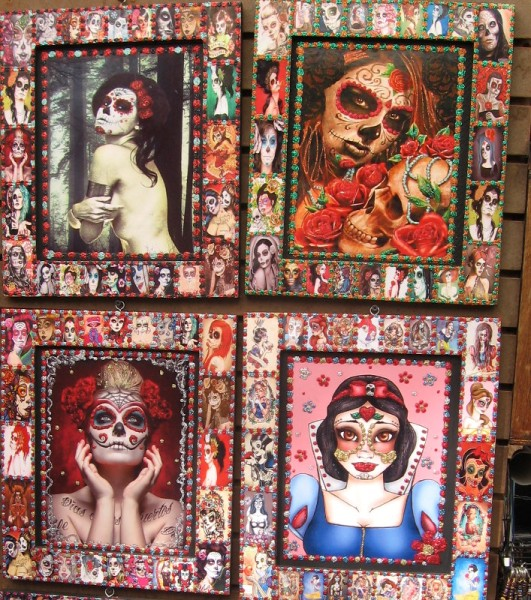 Snow White has been transformed into lavish Day of the Dead artwork.