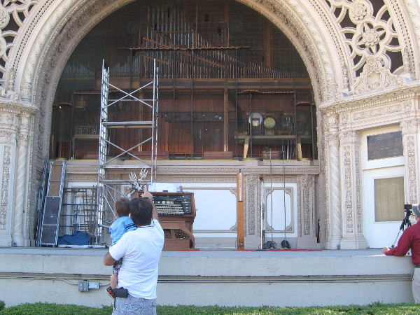 The facade pipes of the Spreckels Organ have been removed to be refurbished.