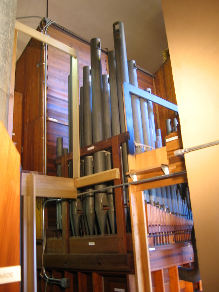 Cluster of long pipes seen from east side of organ.