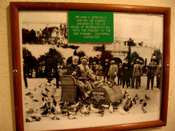 1915 photo of Spreckels on Electriquette wicker cart among pigeons in Balboa Park.