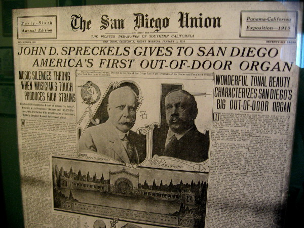 1915 San Diego Union newspaper announces America's First Out-Of-Door Organ.