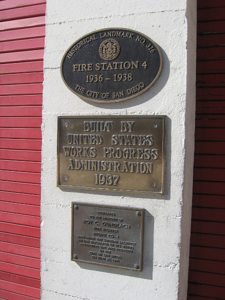 Fire Station 4, built as a New Deal WPA project, is a designated historical landmark.