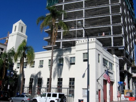 Beautiful old San Diego firehouse at the foot of a shiny new skyscraper.