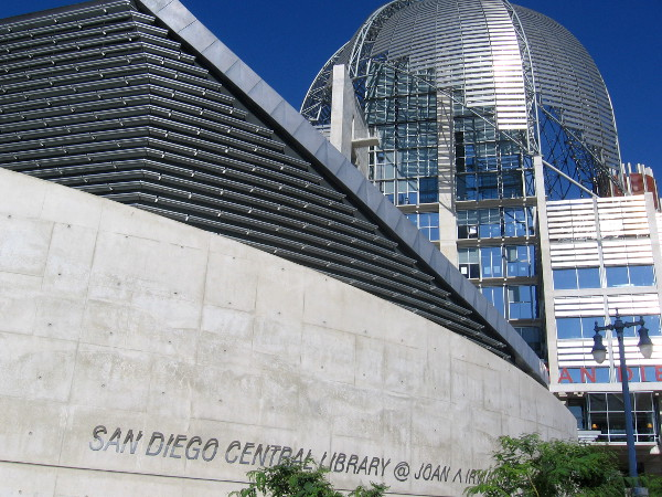 New San Diego Public Library in East Village shines in sunlight.