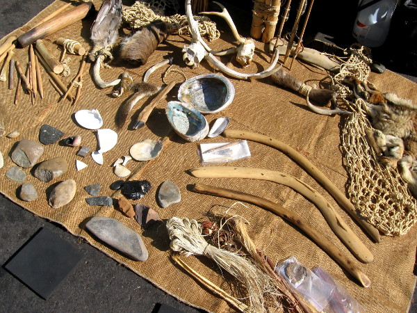 Realistic replicas of Native American tools and weapons were on display.