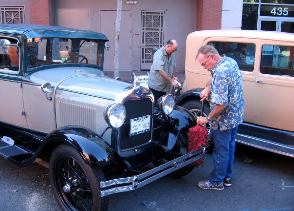 San Diego Model A Club had a row of old automobiles at the Fall Back Festival.