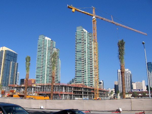 A new hotel is rising across Harbor Drive, at site of old Lane Field, north of Broadway.