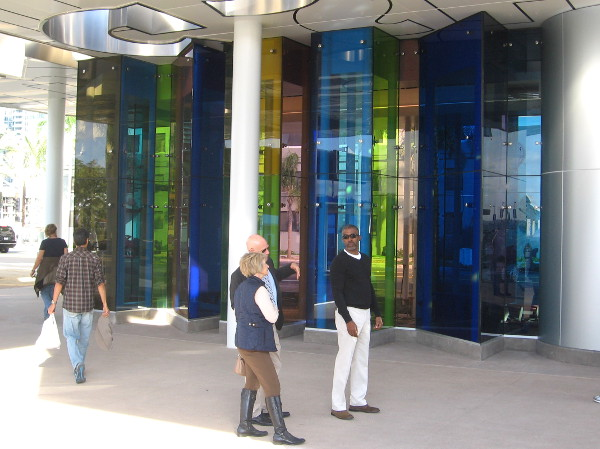 More colorful glass artwork incorporated into a new pavilion.