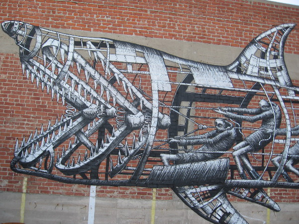 Cool mechanical shark on parking lot wall behind Undisputed Fitness Center in East Village.