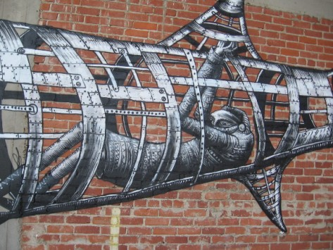 Phlegm often paints masked figures controlling odd contraptions in this illustrative style.